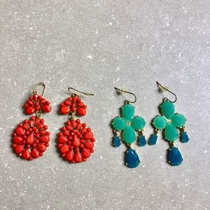 Two pairs of costume jewellery earrings